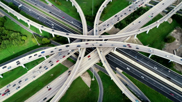Transportation Highway and Modern infrastructure Top-Down Looking straight down Aerial view