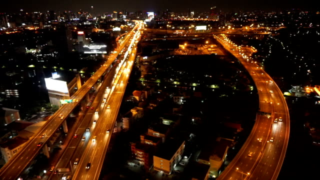 transportation industrial concept, footage of massive expressway at night from top view - warsaw stock videos and b-roll footage