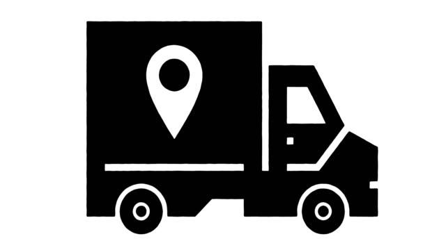 transportation & logistics  line drawing & ink splatter animation with alpha - symbol stock videos & royalty-free footage