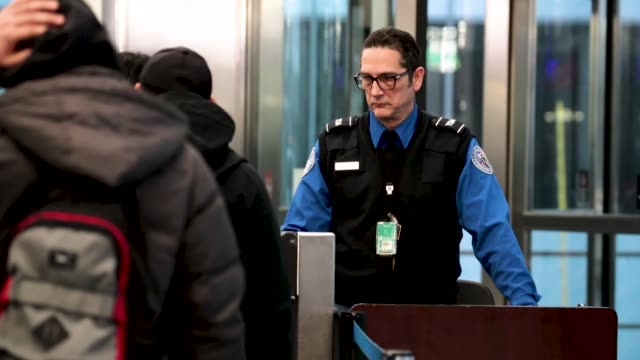 transportation security administration workers screen passengers and airport employees at o'hare international airport on january 07, 2019 in... - coast guard stock videos & royalty-free footage