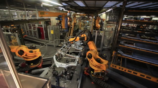 vw transporter t6 production body shop press shop hanover germany thursday april 12 2018 - automobile industry stock videos & royalty-free footage