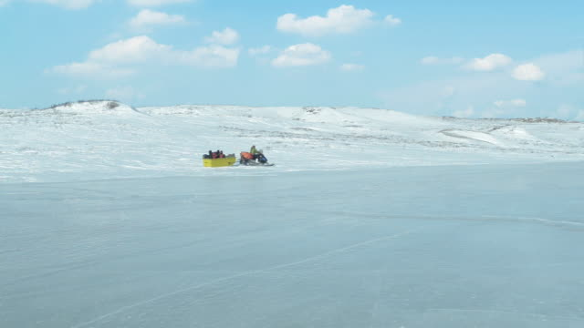 Transporting winter camp in Arctic