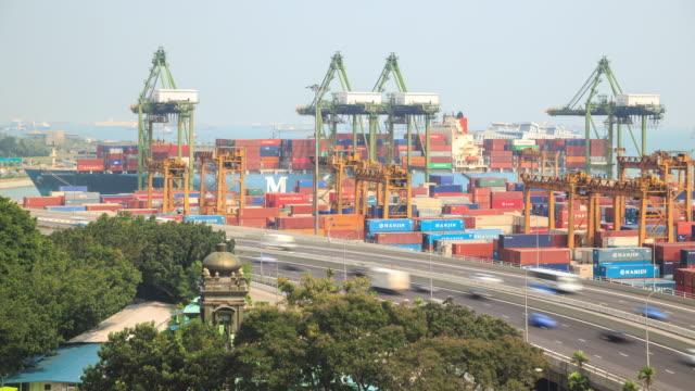 transshipment port - unloading stock videos & royalty-free footage