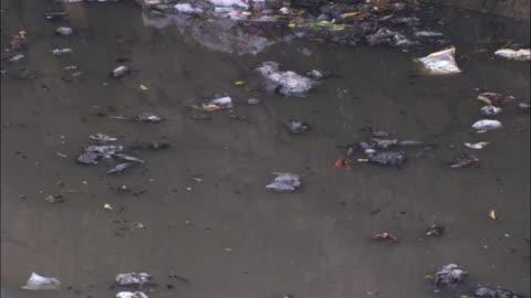 vídeos y material grabado en eventos de stock de trash and sewage pollute a slow flowing river. available in hd. - contaminación de aguas