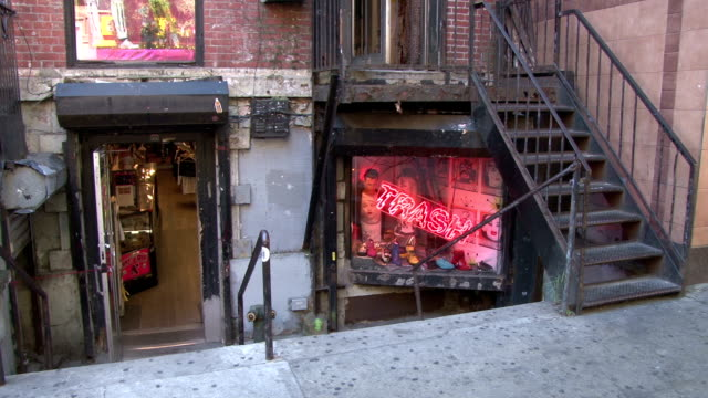trash and vaudeville day exterior - greenwich village nyc - punk music stock videos & royalty-free footage