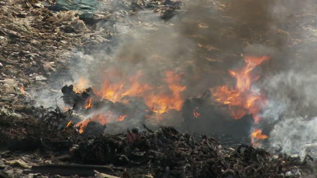 Trash burning at garbage dump