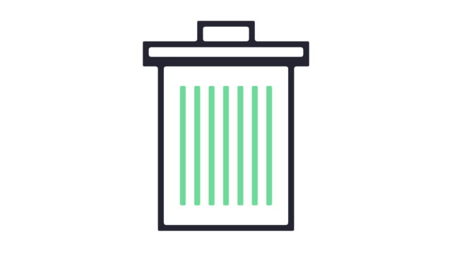 trash can icon animation - wastepaper bin stock videos & royalty-free footage