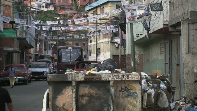 ws tu trash in street in densely populated poor area in petare / caracas, miranda, venezuela - venezuela stock videos & royalty-free footage