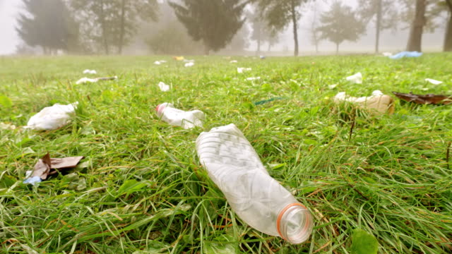 vídeos de stock e filmes b-roll de trash lying scattered across a green meadow - voluntário