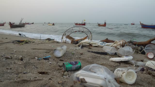 trash on beach with surf of polluted dirty water - water's edge stock videos & royalty-free footage