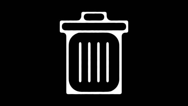 Papierkorb Recycle Pickup Blackboard Linie Animation mit Alpha