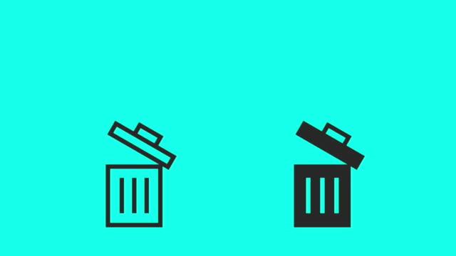 vídeos de stock, filmes e b-roll de lata de lixo - vector animar - ícone de computador
