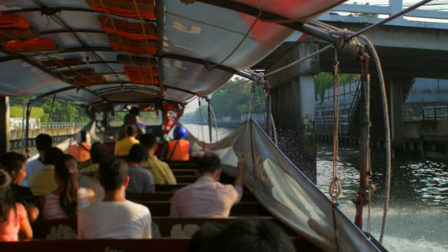 travel along canal in bangkok by water taxi (time-lapse) 1 - water taxi stock videos & royalty-free footage