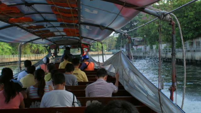 travel along canal in bangkok by water taxi (time-lapse) 2 - water taxi stock videos & royalty-free footage