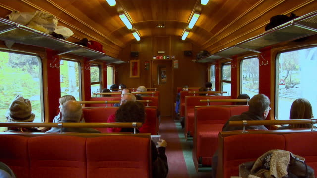 travel by train of the flåm railway - bahnreisender stock-videos und b-roll-filmmaterial