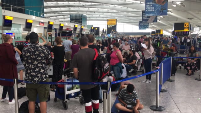 travel chaos at gatwick airport due to weather conditions caused by heatwave and damaged radar at air traffic control - heat stock videos & royalty-free footage