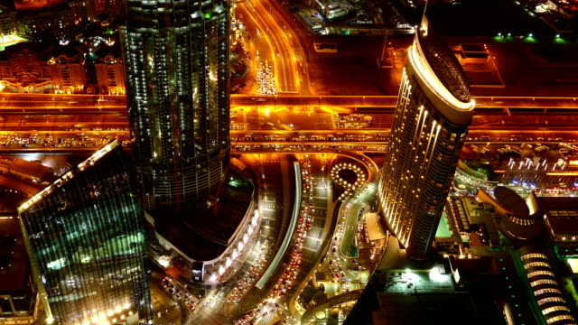 Travel Cinemagraphs Dubai city night traffic crossroad roof top panorama 4k