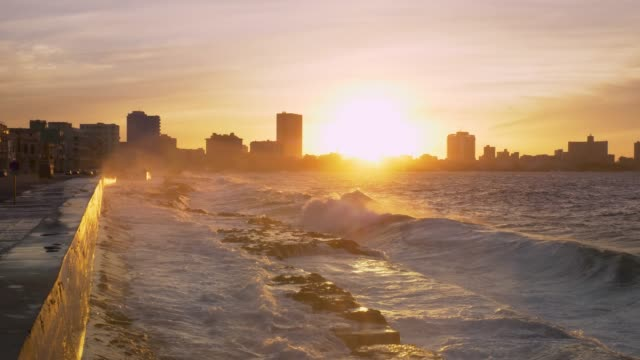 travel cinemagraphs, havana malecon at sunset - havana stock videos & royalty-free footage