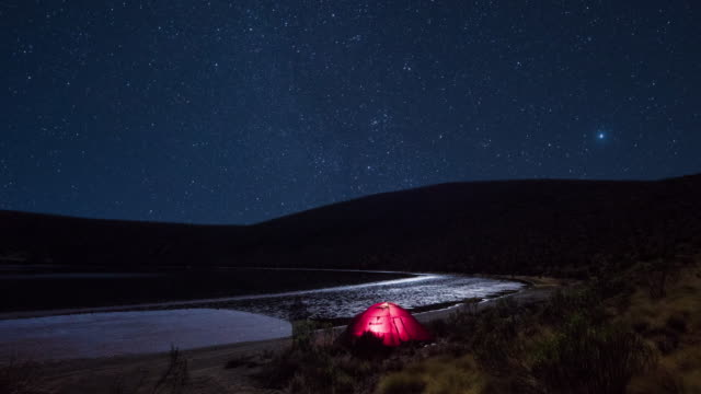 travel cinemagraphs, lighted tent at a lake in a starry night - horizont stock-videos und b-roll-filmmaterial