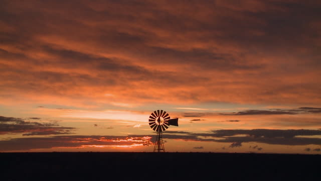 Travel Cinemagraphs, patagonian sunset windmill wide shot