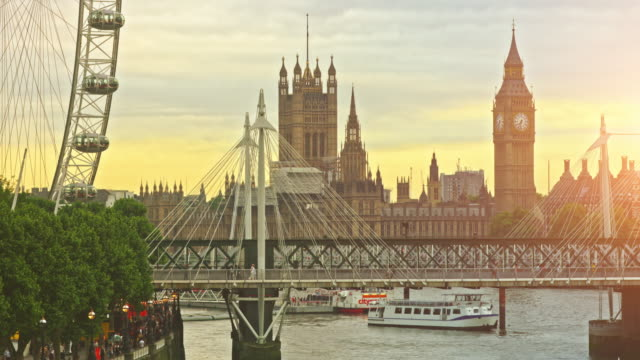 travel destinations of london at sunset - millennium wheel stock videos & royalty-free footage
