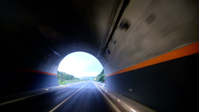 travel in the tunnel with light blurred