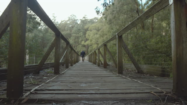 Travel Like a Local - Brief - young man in a historic timber bridge in Yarra Valley, Melbourne, Victoria