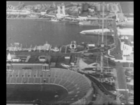 travel shot above century of progress international exposition also known as 1933 chicago world's fair with soldier field at foreground / travel shot... - chicago world's fair stock videos & royalty-free footage