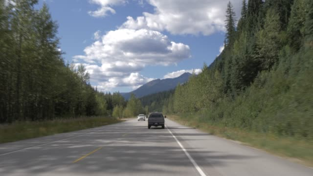 Travel shot on the Trans Canada Highway in Glacier National Park, British Columbia, Canada, North America