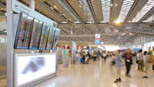 Traveler at Airport Departure Terminal time lapse