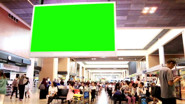HD: Traveler Crowd at Airport with green screen