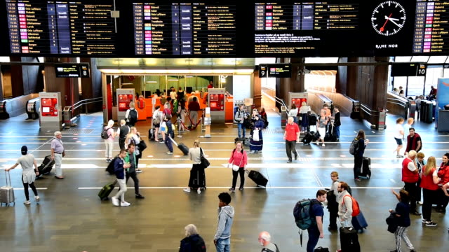 traveler crowd at central train station during holiday in oslo - railway station stock videos and b-roll footage