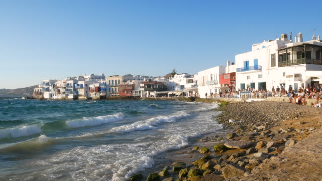 traveler crowd at mykonos greece, 4k resolution. - mykonos stock videos & royalty-free footage
