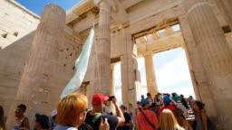 Traveler Crowd at Parthenon in Athens, Greece, 4k Resolution