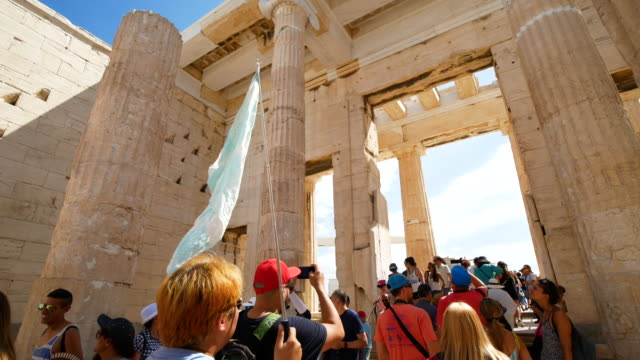 traveler crowd at parthenon in athens, greece, 4k resolution - column stock videos & royalty-free footage