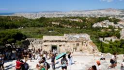 Traveler Crowd at Parthenon in Athens, Greece, 4k Resolution.
