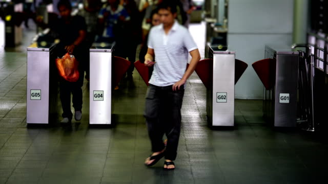 Traveler crowd in bus station