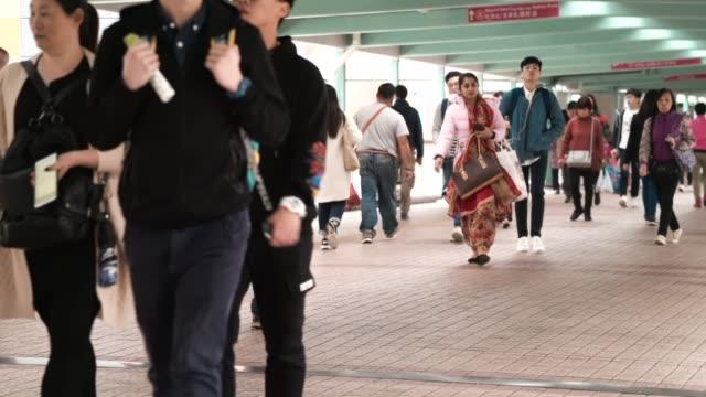 Traveler Crowd in Hong Kong, Pedestrian Commuter