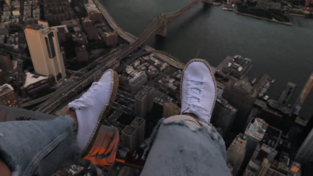 traveler enjoys views of new york from above - helicopter tour stock videos and b-roll footage