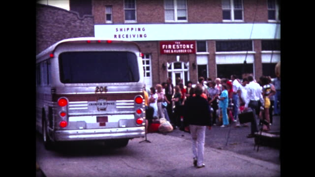 1976 travelers board charter bus for bicentennial tour