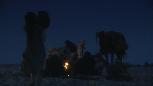 travelers in a caravan gather around a campfire on a dark night. - 遊牧民族点の映像素材/bロール