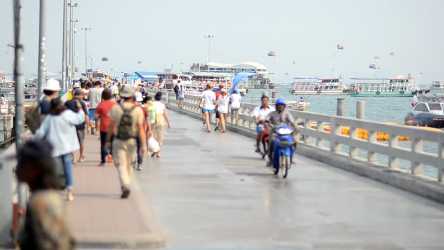 travelers walking on port to find their destiny. - chonburi province stock videos & royalty-free footage