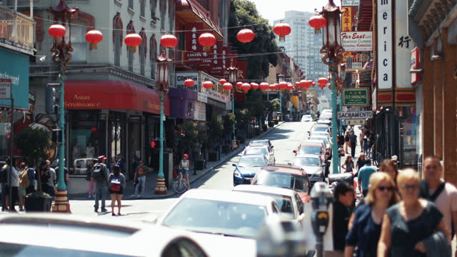 traveling in san francisco during summer: chinatown - california street san francisco stock videos & royalty-free footage
