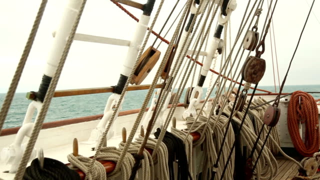traveling on an old sailing ship - rigging nautical stock videos & royalty-free footage