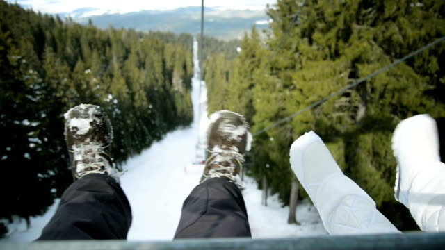 Traveling on ski lift
