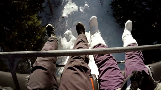 Traveling on ski lift