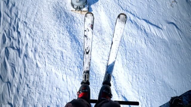 traveling on ski lift - seggiovia video stock e b–roll
