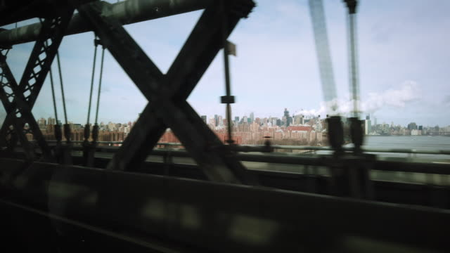 nyc traveling shot over the manhattan bridge - courage stock videos & royalty-free footage