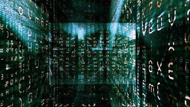 traveling through a labyrinth of digital data (loop). - stor bokstav bildbanksvideor och videomaterial från bakom kulisserna