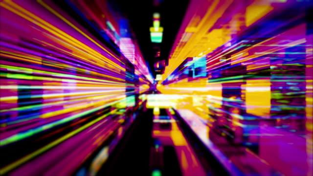 traveling through a maze of flickering high energy light streaks - video jockey stock videos & royalty-free footage